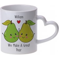 Personalised Great Pear Heart Handle Ceramic Mug