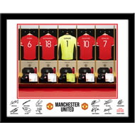 Personalised Manchester United FC Goalkeeper Dressing Room Shirts Framed Print