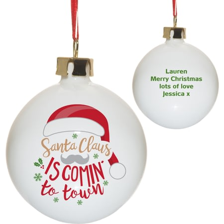 Personalised Santa Claus Is Comin' To Town Christmas Tree Bauble