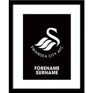 Personalised Swansea City AFC Bold Crest Framed Print