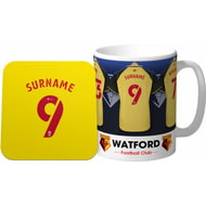Personalised Watford Dressing Room Shirts Mug & Coaster Set