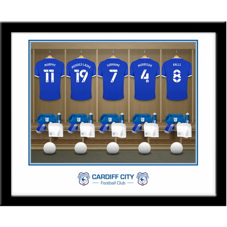 Personalised Cardiff City Dressing Room Shirts Framed Print