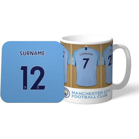 Personalised Manchester City Dressing Room Shirts Mug & Coaster Set