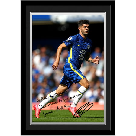 Personalised Chelsea FC Pulisic Autograph Photo Framed