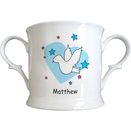 Personalised Dove & Hearts Blue Birth Bone China Loving Cup