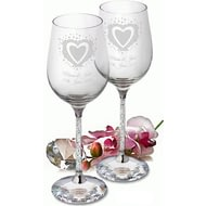 Personalised Vintage Heart Diamante Wine Glasses