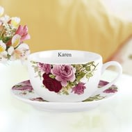 Personalised Pink Roses Tea Cup And Saucer