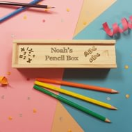 Personalised Back To School Wooden Box With Sliding Lid & 12 Pencils