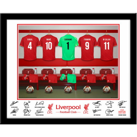 Personalised Liverpool FC Goalkeeper Dressing Room Shirts Framed Print