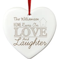 Personalised Love And Laughter White Hanging Heart