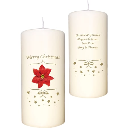 Personalised Poinsettia Christmas Candle
