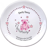 "Personalised Teddy & Stars Pink Christening 8"" Coupe Ceramic Plate"