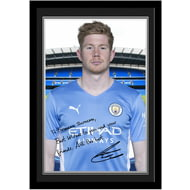 Personalised Manchester City FC De Bruyne Autograph Photo Framed