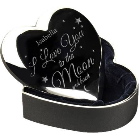 Personalised To The Moon & Back Silver Plated Heart Trinket Box