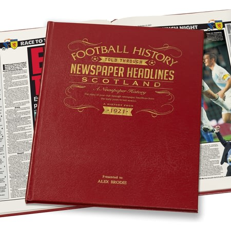 Personalised Scotland Football History Newspaper Book - Leather Cover