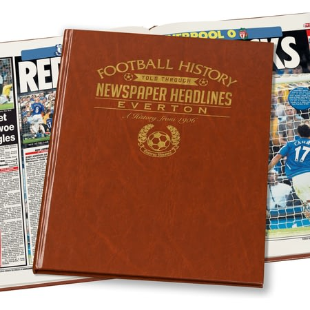 Personalised Everton Football Newspaper Book - Leatherette Cover