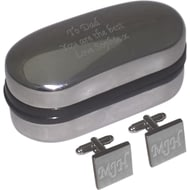 Personalised Silver Plated Square Cufflinks In Engraved Chrome Box