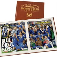 Personalised Chelsea Football Newspaper Book - Leatherette Cover