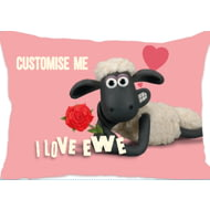 Personalised Shaun The Sheep Valentines 'I Love Ewe' Rectangle Cushion - 45x30cm