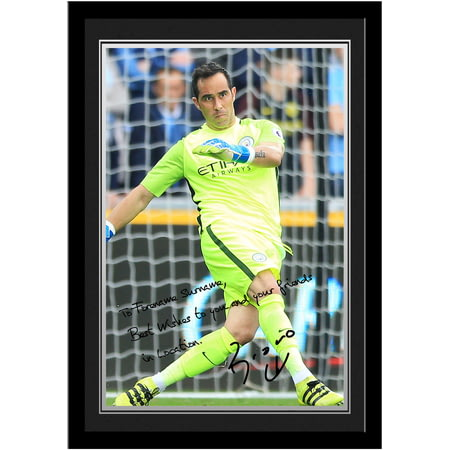 Personalised Manchester City FC Bravo Autograph Photo Framed