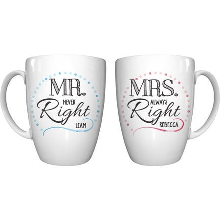 Personalised Mr & Mrs Right Ceramic Mug Set