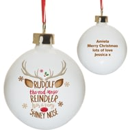 Personalised Rudolph The Red-Nosed Reindeer Christmas Tree Bauble