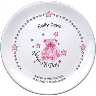 "Personalised Teddy & Stars Pink Naming 8"" Coupe Plate"