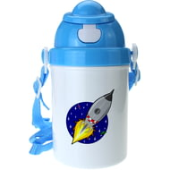 Personalised Rocket Boys Blue Plastic Drinking Bottle With Popup Lid and Straw