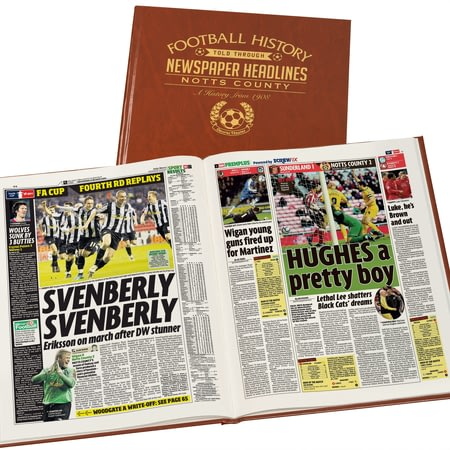 Personalised Notts County Football Newspaper Book - Leatherette Cover