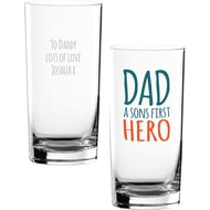 Personalised Dad a Sons First Hero Hi Ball Glass