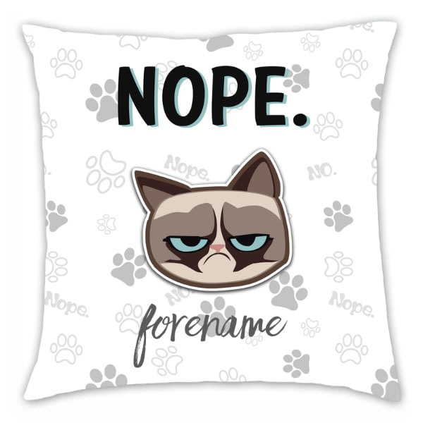 Personalised Grumpy Cat Emoji - Nope Cushion Grey - 45x45cm
