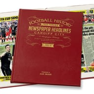 Personalised Cardiff City Football Newspaper Book - Leather Cover