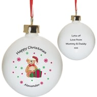 Personalised Christmas Teddy & Hat Bone China Bauble