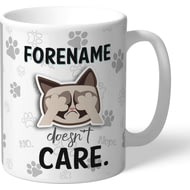 Personalised Grumpy Cat Emoji - Doesn't Care Mug Grey