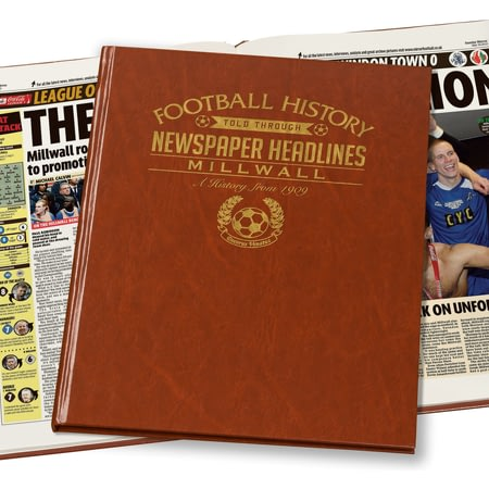 Personalised Millwall FC Football Newspaper Book - A3 Leatherette Cover