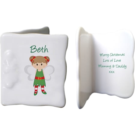 Personalised Christmas Pixie Ceramic Message Card