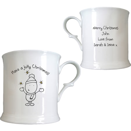 Personalised Chilli & Bubble's Jolly Christmas Half Pint Tankard