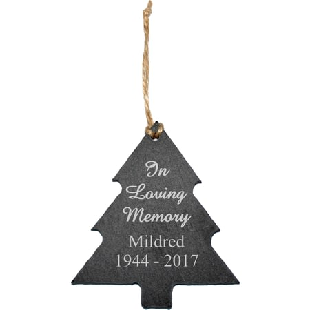 Personalised Engraved In Loving Memory Slate Christmas Tree Decoration