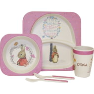 Personalised Beatrix Potter Flopsy Bunny Pink Bamboo Breakfast Set
