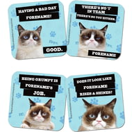 Personalised Grumpy Cat Blue Coasters