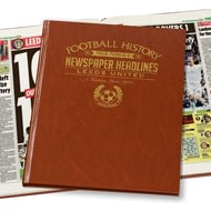 Personalised Leeds United Football Newspaper Book - A3 Leatherette Cover