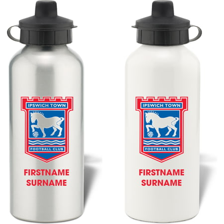 Personalised Ipswich Town FC Bold Crest Aluminium Sports Water Bottle