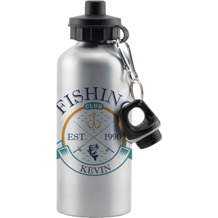 Personalised Fishing Club Silver Sports Bottle