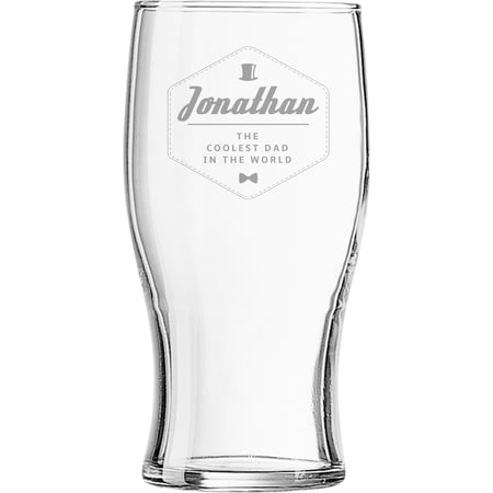 Personalised Hipster Style Coolest Dad Beer Pint Glass