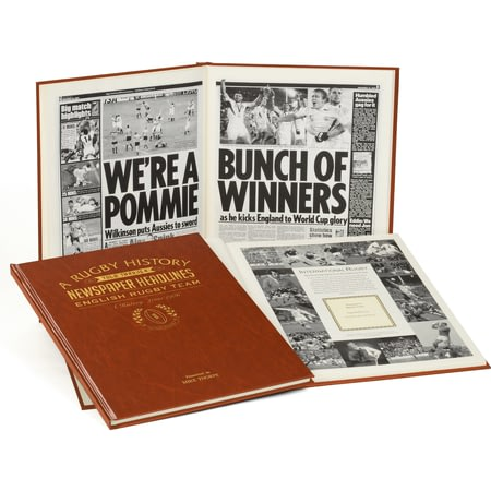 Personalised History Of English Rugby Newspaper Book