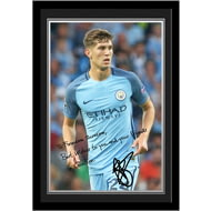 Personalised Manchester City FC Stones Autograph Photo Framed