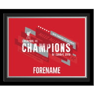 Personalised Liverpool FC Champions Of Europe Print Framed
