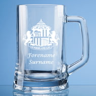 Personalised Sunderland AFC Crest Stern Glass Pint Tankard