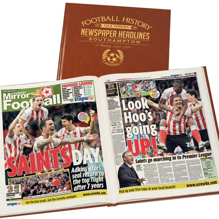 Personalised Southampton Football Newspaper Book - Brown Leatherette