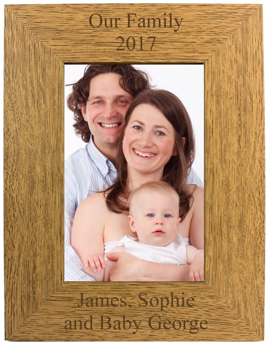 Personalised Engraved Portrait Wooden Photo Frame 4x6 5x7 8x10 Any